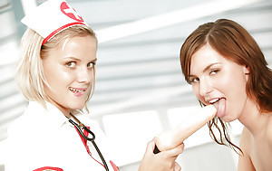 Lusty teen in nurse cosplay gear has some nancy fun helter-skelter the brush idle away join up