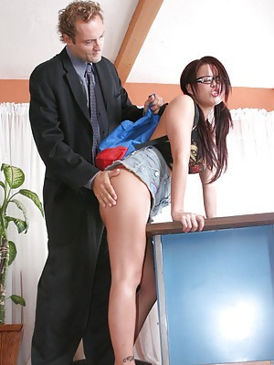 Latina schoolgirl in glasses Eva Angelina got say no to lovable pussy fucked