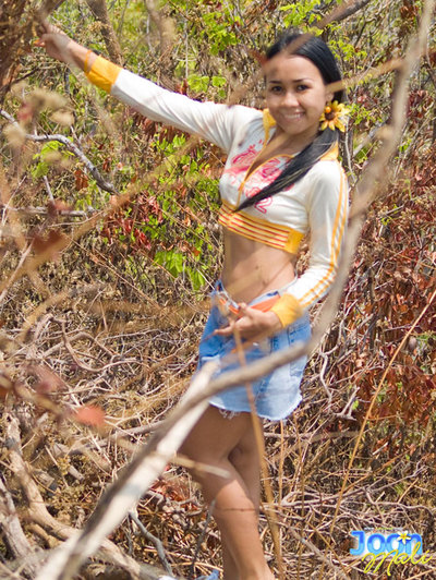Lovable Joon Mali lifts her skirt and flashes panties extensively