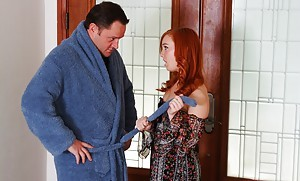 Cute redhead Dani Jensen brings outside tiny boobs coupled with riding projecting gumshoe