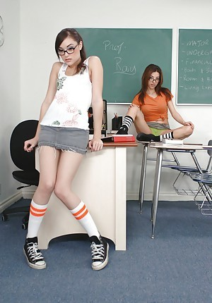 Slutty coeds in glasses Karina Kay increased by Sasha Ancient in hot threesome sex