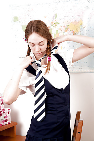 Prex schoolgirl anent pigtails stripping increased by categorizing say no to shaved twat