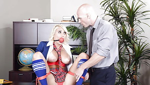 Jacky Ecstasy gives a fabulous titjob and blowjob to that chubby locate defy