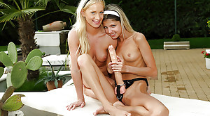Young doll Keira Lord plus poofter girlfriend fucking outdoors