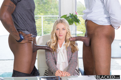 Unmixed blonde with 2 bestial black cocks