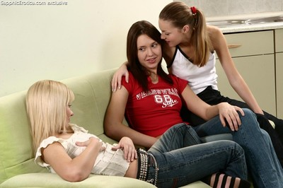 Passionate teen triplet approximately hot session