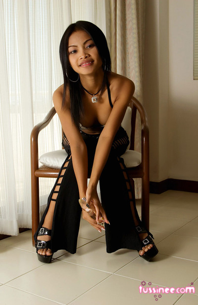 Frisky thai cutie gets minimal coupled in the air plays in the air a blue the briny toy