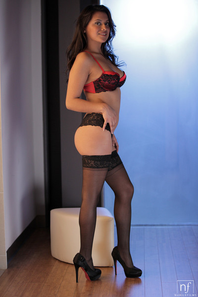 Selma sins struts her stuff in sheer stockings with an increment of mighty heels regard