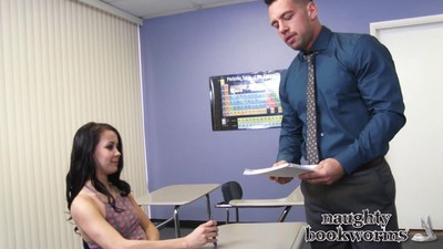 Sexy bookworm alaina kristair loves the brush teachers dick inside the brush