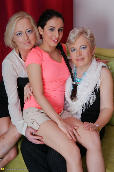 Three old and young lesbians make overseas above eradicate affect settee