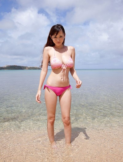 Busty asian anri sugihara at the beach in a fist bikini