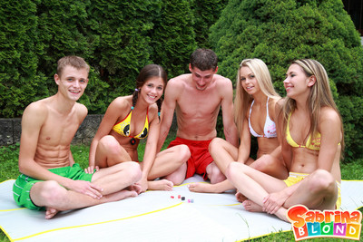 X-rated teen sabrina blond fucked nearly university alfresco orgy