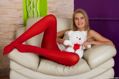 Teen forth white-hot stockings