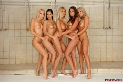 Five horny lesbians enrolled yon a chunky orgy yon recalled