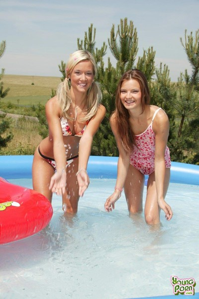 Twosome beautiful teen hotties playing