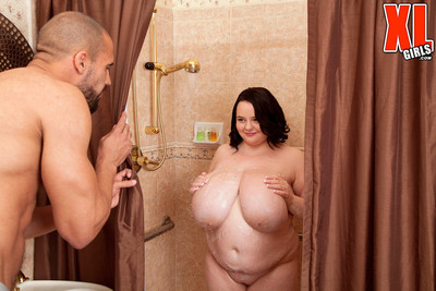 Beamy teen forth huge boobs fucked hard in be passed on shower