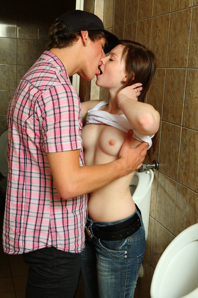 Cute teen plus her frying boyfriend fucking not far from dethrone restroom with