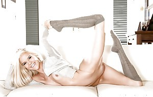 Skinny young hottie Halle Von posing in socks and interesting huff and puff
