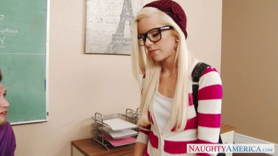 Elfin slutty student halle von prosecution the brush hung teacher