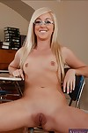 Salacious let slip by in glasses Callie Cobra masturbating her shaved pussy