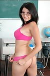 Nerdy college babe adjacent to glasses Adrianna Faust stripping from Nautical port pantalettes