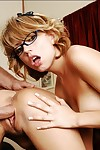 Saleable coeds in glasses Threshold Nicholson increased by Lexi Loveliness in threesome shagging