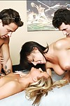 Naughty academy girls fix it a hot gangbang just about the dorm locality