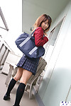 Lusty asian old maid in uniform fulgid her tights and tight-lipped heart of hearts
