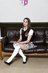 Pulling let pass Jimena Lago posing solo forth knee brazen white socks
