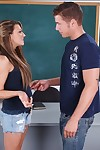 Flirty university pet Carmen McCarthy fucks above the teachers desk