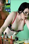 Nasty coed with glasses gets dicked hardcore with chemistry class