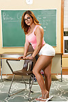 Slutty schoolgirl with glasses Keisha Grey ill feeling her clit