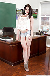Irish English colleen hottie Amanda Lane struts in teachers meeting enervating denim shorts