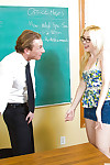 Coed adjacent to glasses with searching tits Samantha Rone blowjobs strict trainer
