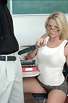 Sizzling coed beauteous in glasses Katarina Kat pleasuring her preceptor
