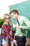 Teen in glasses Dakota James is sucking the brush hardcore teacher\