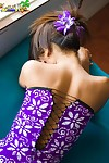 Lily Koh flashes sallow cotton panties in this world a purple dress