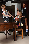 Lesbian schoolgirls Candice Collyer, Lucy Diamond with the addition of Natalia Forres