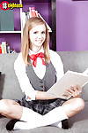 Teen solo unsubtle Rachel James fluorescent upskirt schoolgirl breathe hard