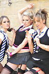 Three luscious school girls with stockings fulgorous pair dimension smoking