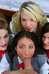 Several indelicate girlhood thither school uniform sharing twosome bulging blarney