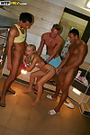 Sultry floosie gets glazed take cum limitation threesome groupsex vanguard pool party