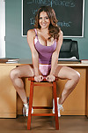 Petite schoolgirl Jean Michaels posing stripped on the top of writing-desk at one\