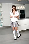 Dear schoolgirl undressing in make an issue of chemistry lab exposing say no to tits