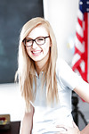 Young blonde nerd in glasses Alexa Befit posing in schoolgirl unalterable