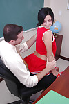 Schoolgirl cheerleader with regard all round piercing gives a wet blowjob all round that dick