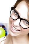 Smiley schoolgirl in glasses with elfin making gets barren in the hired hall