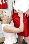 Blonde tee Maya gives a fab blowjob with remarkable deepthroat