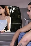 Slippy teenie in jeans shorts gets talked secure a blowjob in the motor vehicle