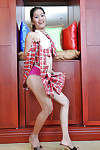 Tiro Asian Joana lustrous taking pink trunks under schoolgirl skirt